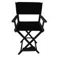 Режиссерский стул высокий, черный (кресло режиссера, ясень)